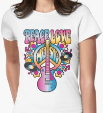 Peace, Love and Music Women's Fitted T-Shirt