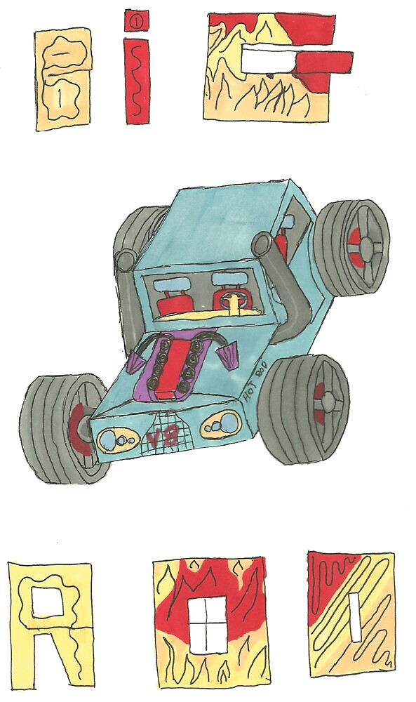 Hand Drawn Big Rod Car by Northers