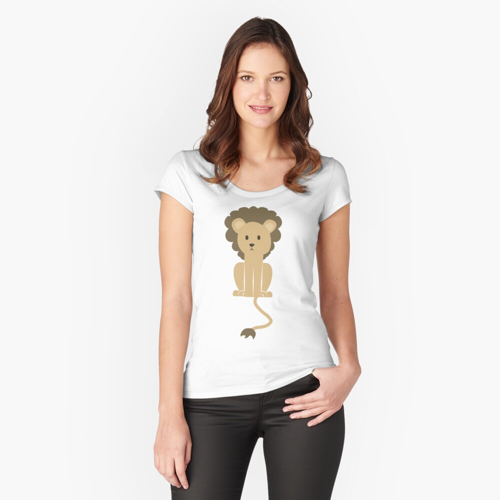 Sitting Cute Lion Women's Fitted Scoop T-Shirt Front