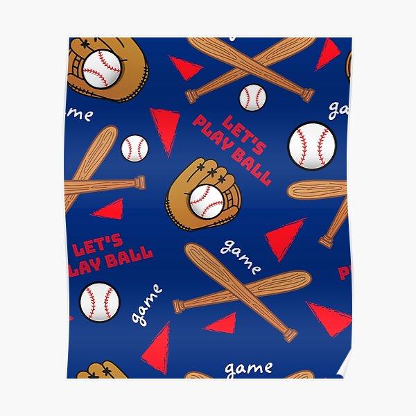 Let's Play Baseball Pattern Poster