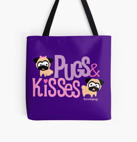 Pugs & Kisses Logo Tote (Purple) All Over Print Tote Bag