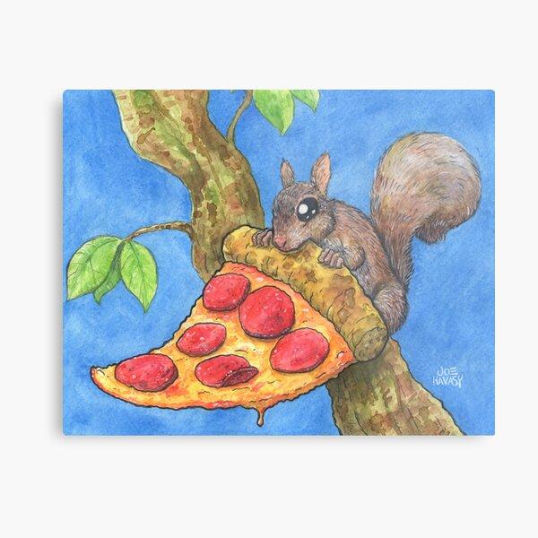 Pizza Squirrel Metal Print