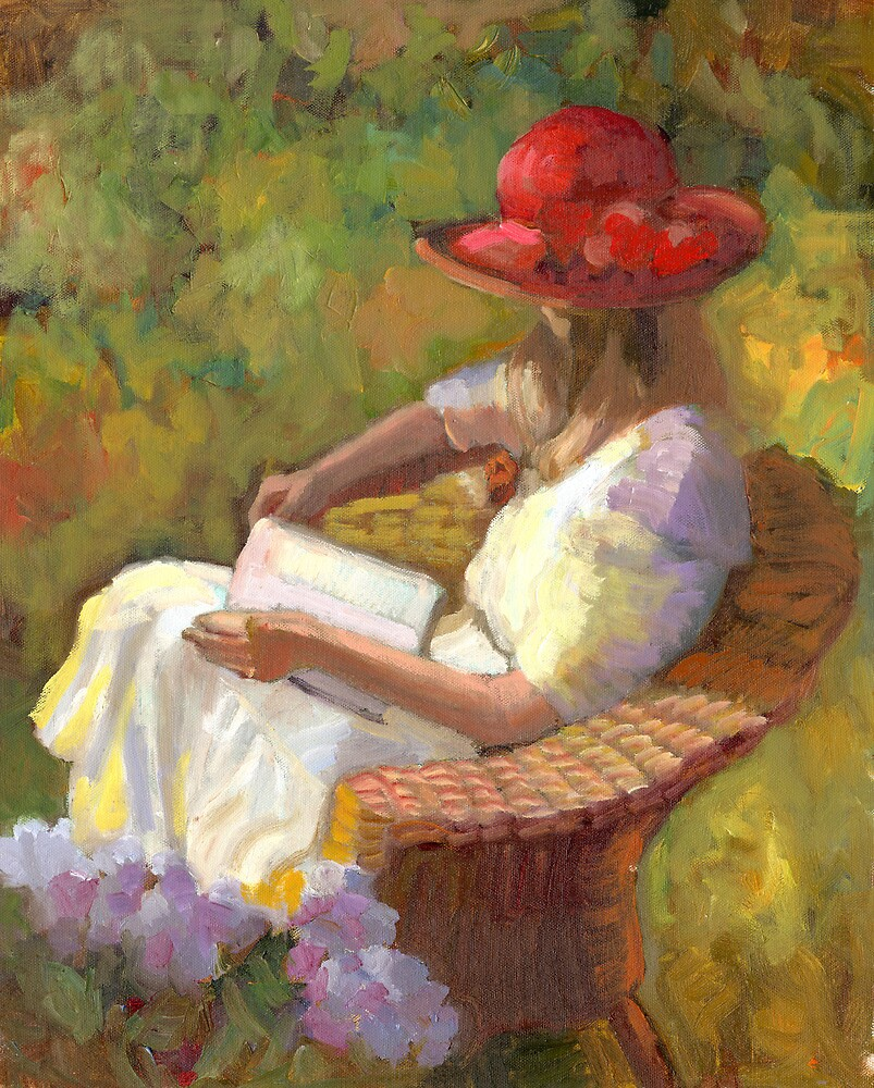 Profile of girl in the red hat by Sally  Rosenbaum