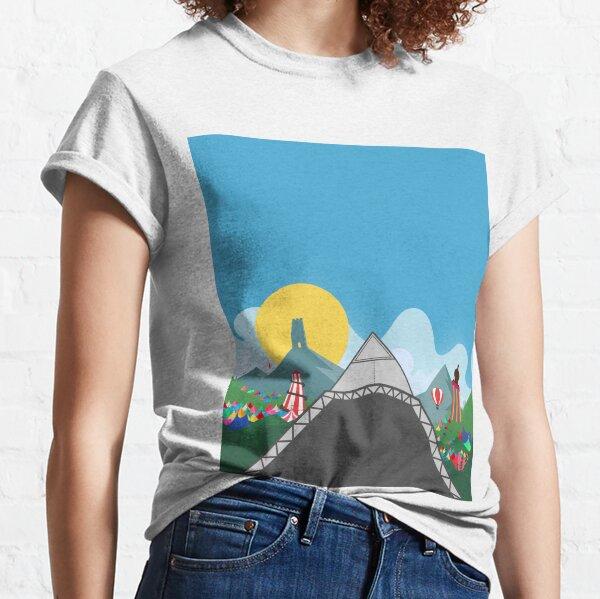 Unofficial Glastonbury Festival Inspired  Art - Pyramid Stage - Fan Art - Festival Merch - Glasthomebury Classic T-Shirt