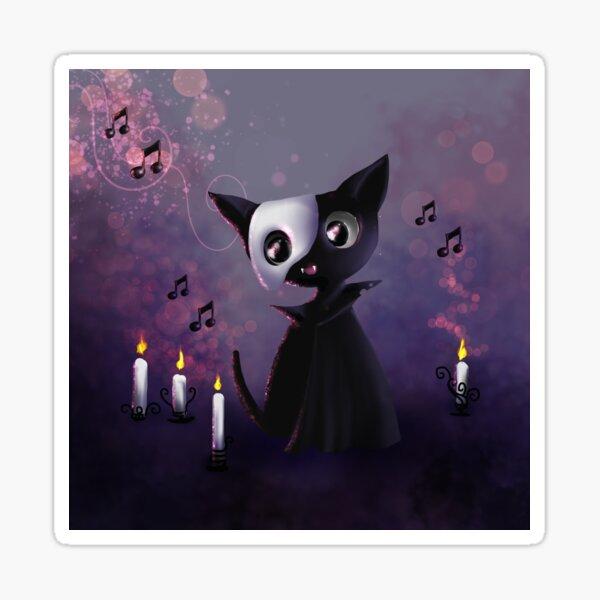Schwarzes Kätzchen - Mewsic der Nacht Sticker