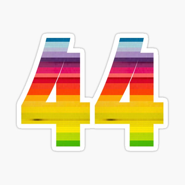 44 Rainbows! Number 44 in Rainbow Colors Glossy Sticker