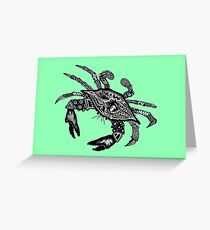 Blue Crab on Green Greeting Card