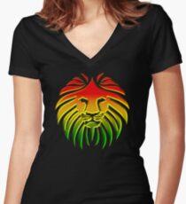 Like a Lion, Reggae, Rastafari, Africa, Jah, Jamaica,  Women's Fitted V-Neck T-Shirt