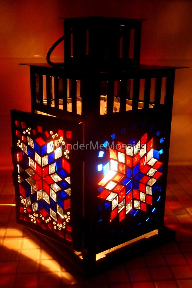 Stained Glass Mosaic Lantern - Print by WonderMeMosaics