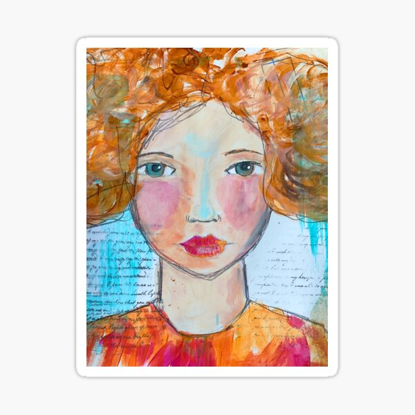 Red hair girl a mixed media painting Sticker