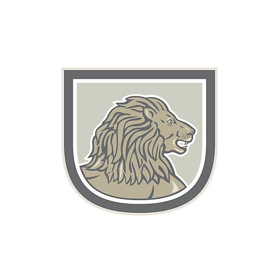 Lion Big Cat Head Side Shield by patrimonio
