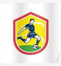 Soccer Player Kicking Ball Retro Poster