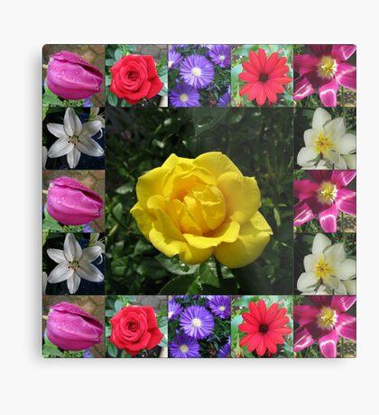Golden Jewel Rose Collage Metallbild