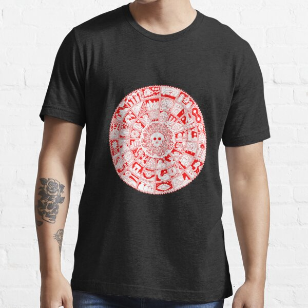Skull Mandala in Red and White Essential T-Shirt