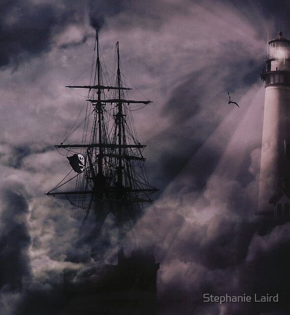Pirate Ship, Lighthouse and Dark Skies by Stephanie Laird