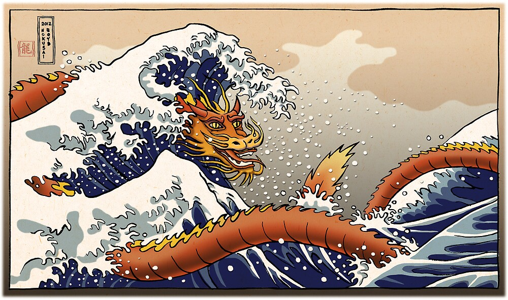 Dragon surfing Hokusai's wave by remotelycreativ