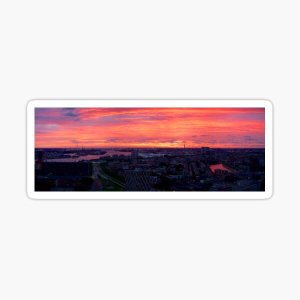 Sunset on River Nieuwe Maas, Rotterdam, (from Euromast) Sticker