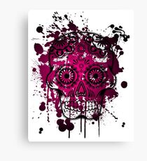 Watercolor pink skull dia de los muertos Canvas Print