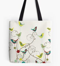 Colorful Whimsical Summer Red, Teal and Yellow Birds with Swirls Tote Bag