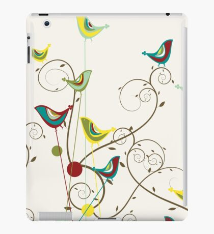 Colorful Whimsical Summer Red, Teal and Yellow Birds with Swirls iPad Case/Skin