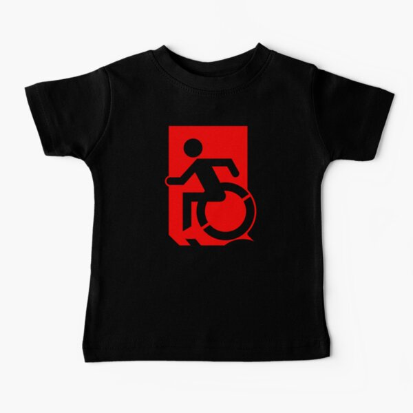 Emergency Exit Sign, with the Accessible Means of Egress Icon, part of the Accessible Exit Sign Project Camiseta para bebés