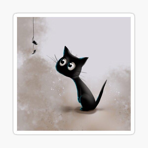 Schwarzes Kätzchen - Federn Sticker