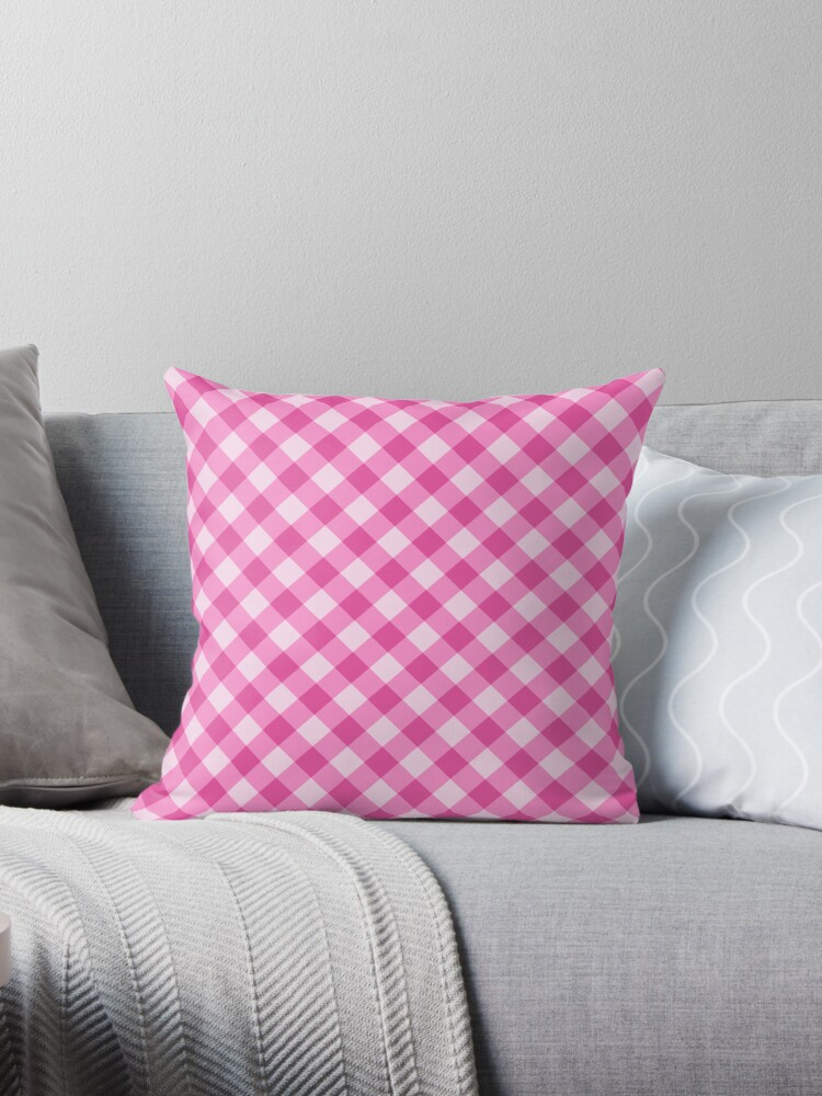 Pink gingham pattern tote bag, pillow and cases by Mhea