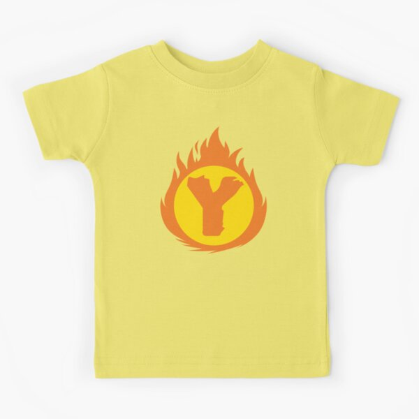 Superhero Letter Y. Fire Insignia Kids T-Shirt