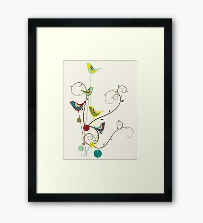 Colorful Whimsical Summer Red, Teal and Yellow Birds with Swirls Framed Print