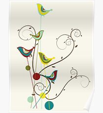 Colorful Whimsical Summer Red, Teal and Yellow Birds with Swirls Poster