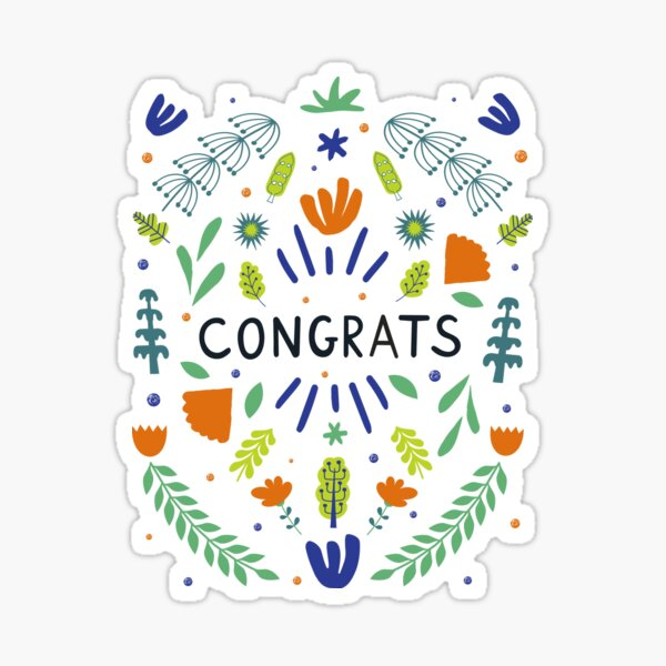 Congrats Note - Summer Leaves Sticker