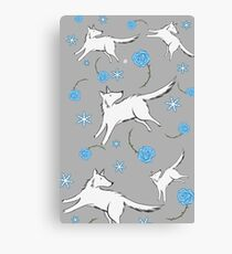 Wolves & Winter Roses Canvas Print