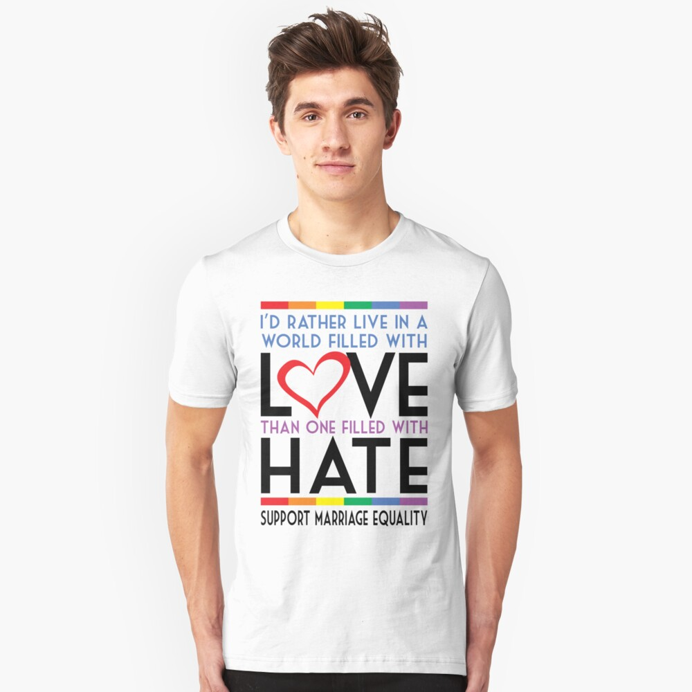LGBT Love Over Hate Unisex T-Shirt Front