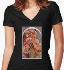 'Flowers' by Alphonse Mucha (Reproduction) Women's Fitted V-Neck T-Shirt