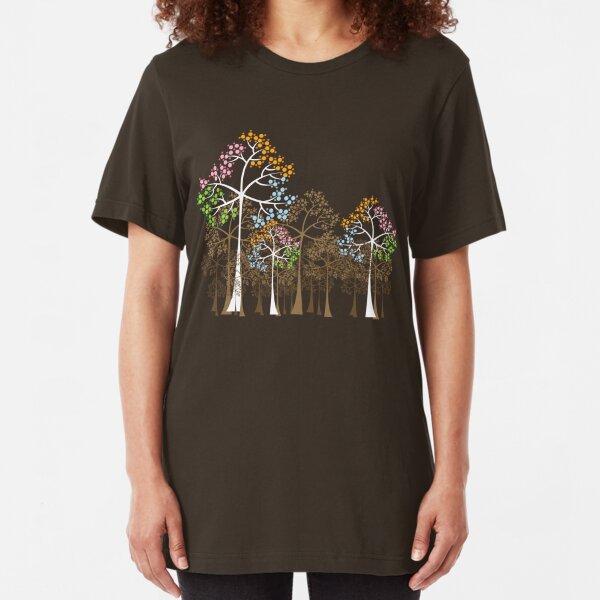 Colorful Four Seasons Trees Slim Fit T-Shirt