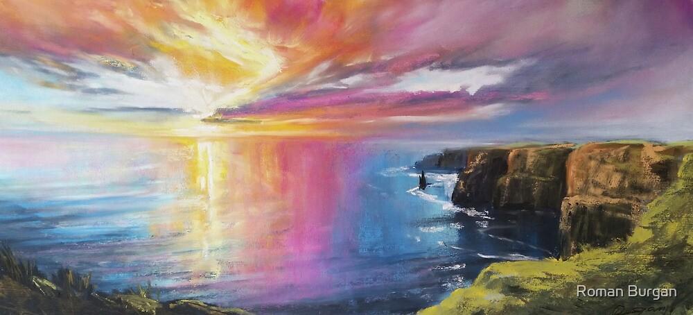 Cliffs of Moher sunset by Roman Burgan