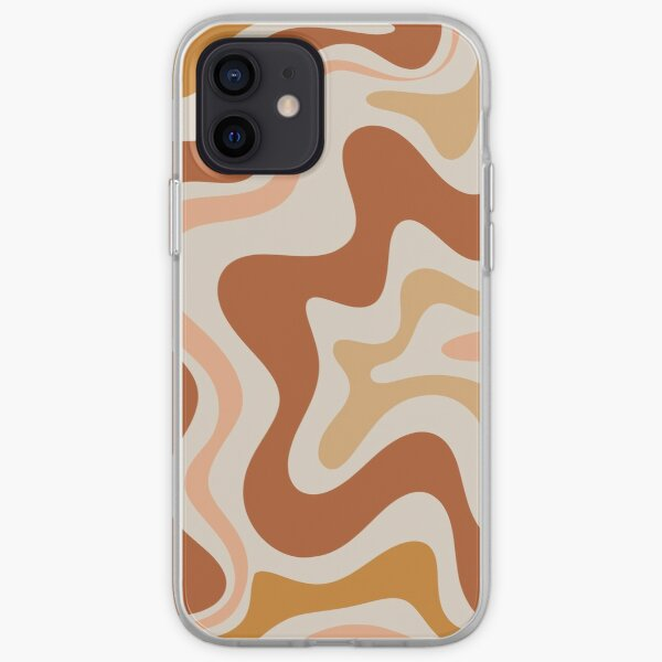 Liquid Swirl Retro Modern Abstract in Earth Tones  iPhone Soft Case