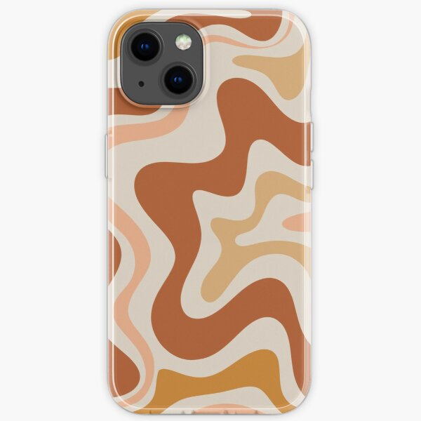 Liquid Swirl Retro Modern Abstract in Earth Tones  iPhone Soft Case