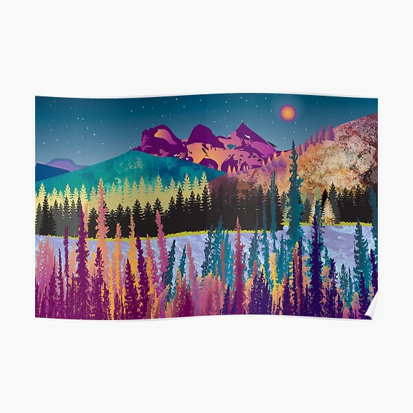 Sleepy Sisters | Colourful, Three Sisters Mountain Range, digital painting Poster