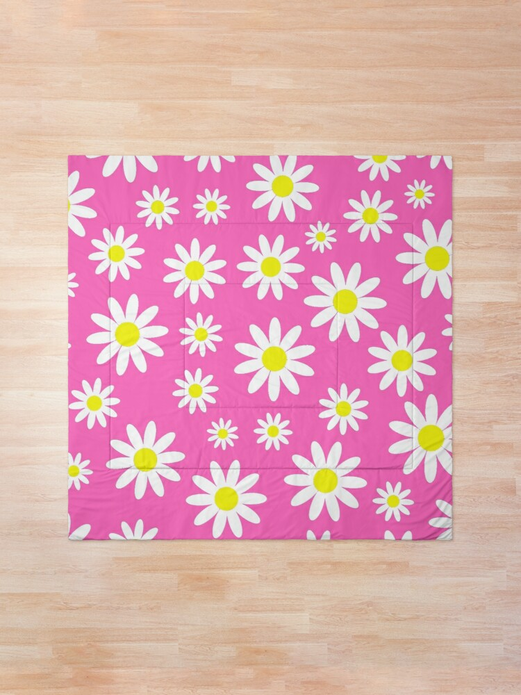 Alternate view of pink daisies daisy floral  Comforter