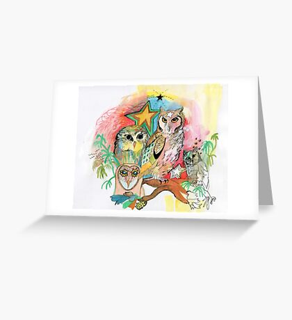 Owls and Stars Greeting Card