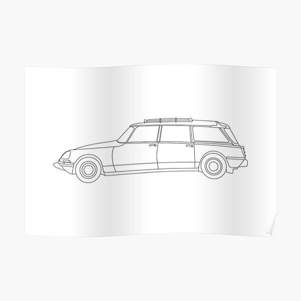 Citroen DS Familiale - Pause | dessin au trait noir Poster
