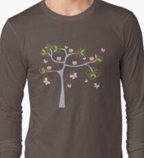 Whimsical Pink Cupcakes Tree Long Sleeve T-Shirt