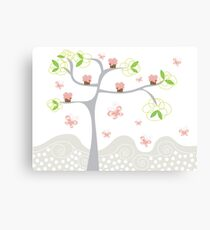 Whimsical Pink Cupcakes Tree Canvas Print