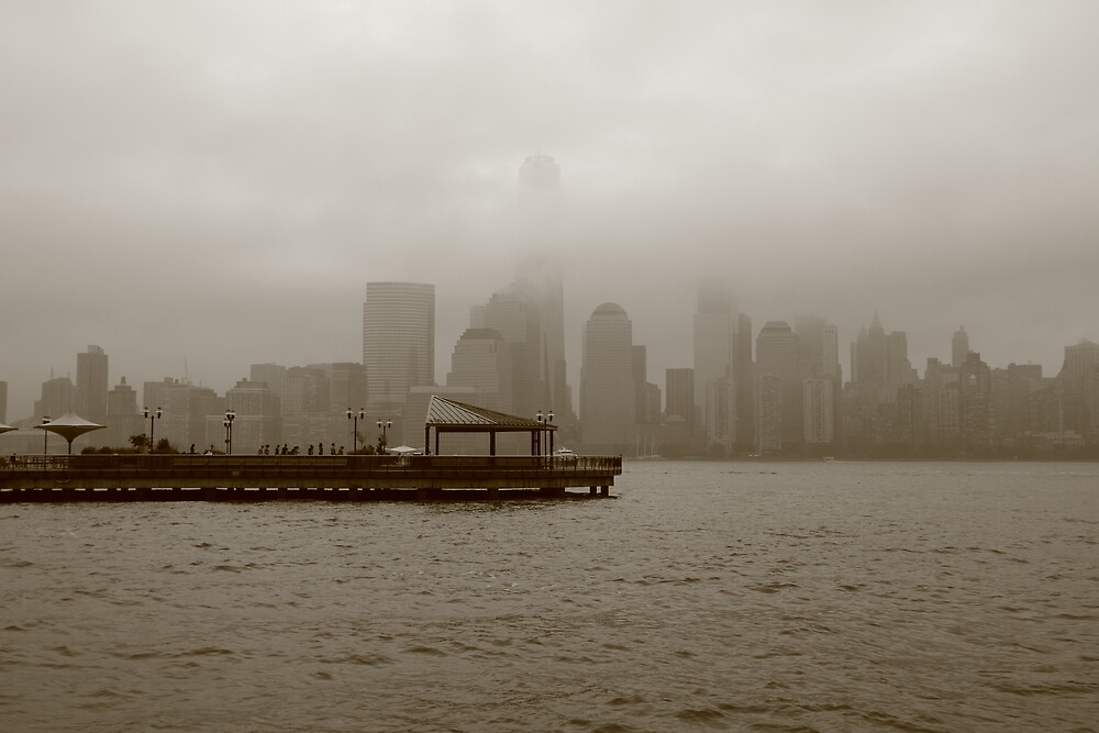 Lower Manhattan shrouded in fog From Exchange Pl. Jersey City by pmarella