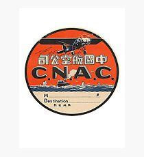 Vintage CNAC Luggage Label Photographic Print