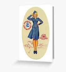 Vintage TWA Luggage Label Greeting Card