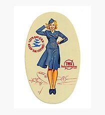 Vintage TWA Luggage Label Photographic Print