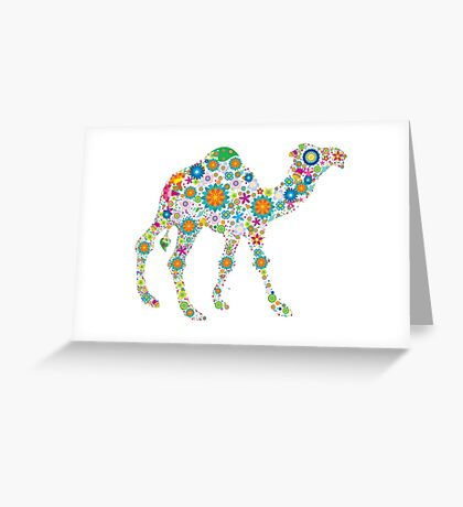 Cute Colorful Retro Floral Camel Greeting Card