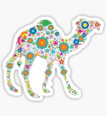 Cute Colorful Retro Floral Camel Sticker